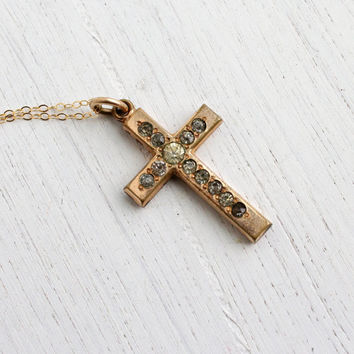 SALE - Antique Gold Filled Cross Necklace - Edwardian Rhinestone Paste Pendant Jewelry / Religious Charm