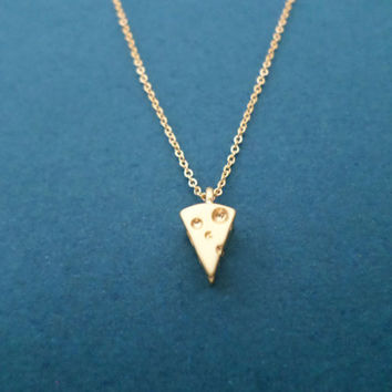 Gold, Cheese, Necklace, Small, Pendant, Necklace, Small, Cute, Cheese, Necklace, Gift, Birthday, Food, Necklace, Minimal, Jewelry, Gift