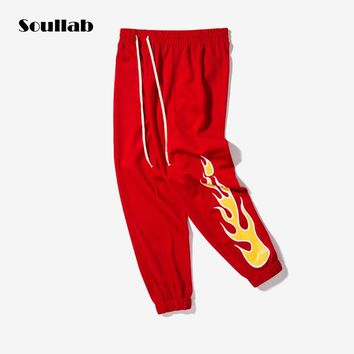 soullab 2017 quality black blue red fire side logo print men women bottom jogger pant track vintage sporty trousers sweat gothic