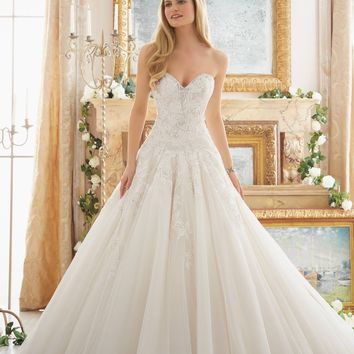 Mori Lee 2877 Strapless Lace Drop Waist Beaded Ball Gown Wedding Dress