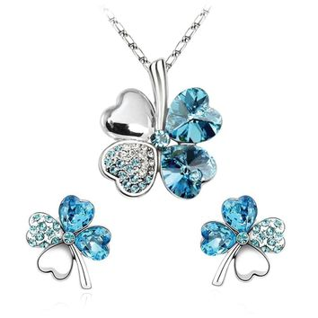 BodyJ4You Fashion Jewelry Set Four Leaf Clovers Necklace & Earrings Aqua Crystal Pendant and Studs