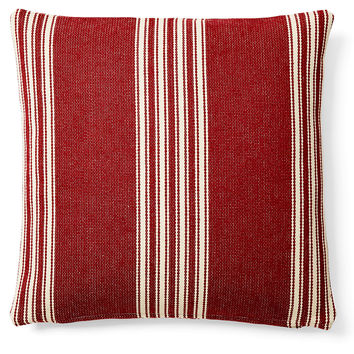 French Laundry Home, Striped 20x20 Cotton Pillow, Red, Decorative Pillows