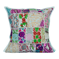 40x40 cm White Rajasthan Handicraft Patchwork Cotton Pillow Case on RoyalFurnish.com