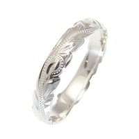 925 Sterling Silver 4mm Cut Out Edge Hawaiian Scroll Hand Engraved Ring Band