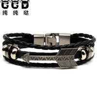 CCD 2017 New Men's Anchor Bracelet&Bangle Male Multilayer Accessories Homme Jewelry Black Color Leather Bracelets Birthday Gift