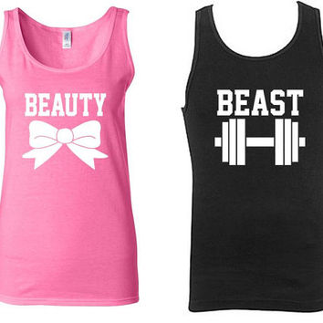 Beauty And Beast Couple Matching Tank Tops. Work Out Couple Matching T-shirts. Matching Couple Tanks. His and Hers TShirts. Gym Clothing.