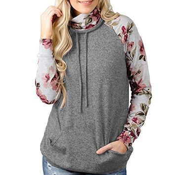 SELUXU Women Casual Sweatshirt Long Sleeve Floral Pullover Hoodie Tunic Top