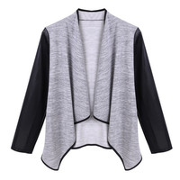 Stylish Ladies Women Leather Sleeve Patchwork Tops Blouse Cardigan = 1838460676