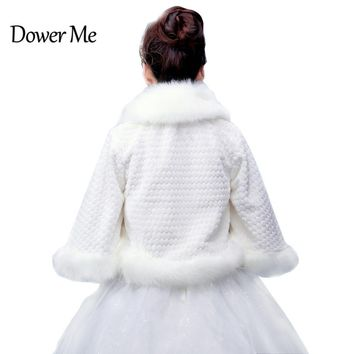 In Stock Wedding Accessory Faux Fur Black White Custom Made Bridal Coat Wedding Bolero Stoles Jacket Shrug Wraps LF07