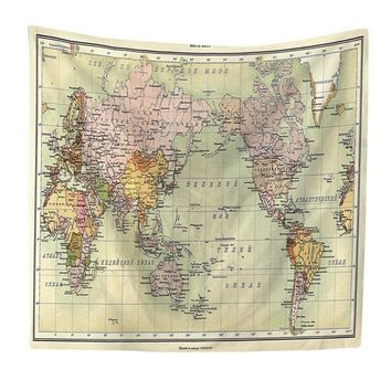 Retro Old World Map Tapestry