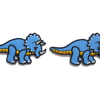 Set 2 pcs. Triceratops Blue Dinosaur New Sew / Iron On Patches Embroidered Appliques Size 5.9cm.x3.2cm.