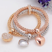 Rhinestone Heart Layered Women's Bracelet
