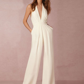 Women's White Halter Sleeveless Backless Jumpsuit - NOVASHE.com