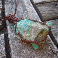 Raw Chrysocolla Necklace.Macrame necklace,raw chrysocolla stone,communication necklace,gift for her/him,healing crystal,boho,gypsy,nomad