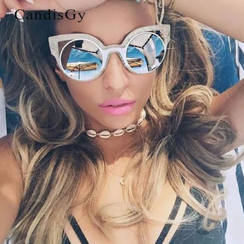Cat Eye Brand Designer Round Party 50S Sunglasses Classic Small Metal Size Sun Glasses Mirror Pink Lady Female UV400 Hot sale