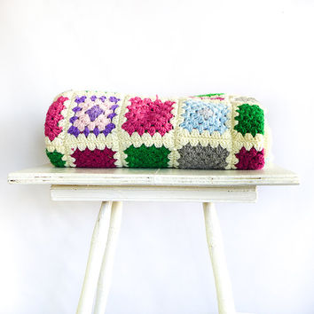 Vintage Granny Square Afghan, Crochet Blanket, Patchwork Throw Blanket, Crochet Throw, Colorful Patchwork Afghan, Multicolor Vintage Afghan