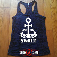 Swole Anchor Workout Tank - Biceps Funny Gym Apparel Burnout Racerback Tanks Working Out Lifting Women's