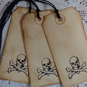 10 Skull and Crossbones Inked Gift Tags - Hand Distressed - Pirate Favor Tags - Halloween Favor Tags - Limited Edition