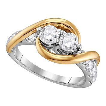 14kt Two-tone Gold Womens Round Diamond 2-stone Bridal Wedding Engagement Ring 1-3-8 Cttw