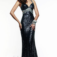 Long Sweetheart Sequin Gown by Faviana