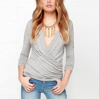Grey V-Neck Ruched Wrap Long Sleeve Top