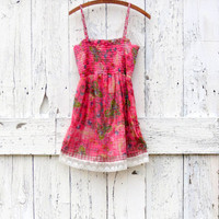 Floral Boho Cami Tank Tunic , M L Upcycled smocked Babydoll tank , Eco pink and red plaid indie fashion , summer festival top by wearlovenow