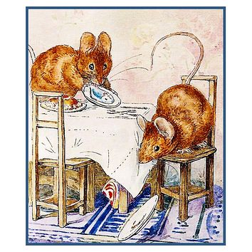 Tale of 2 Bad Mice inspired by Beatrix Potter Counted Cross Stitch or Counted Needlepoint Pattern