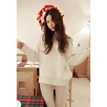 Apricot Retro Batwing Sleeve Sweater