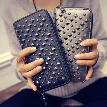 Leather Studded Rivets Wallet Bags Purse