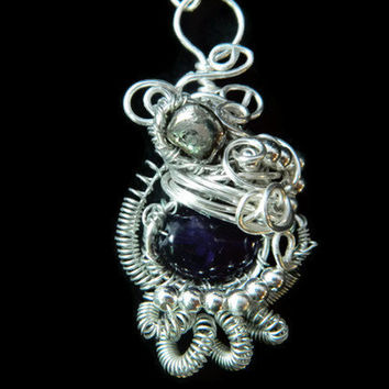 Heady wire wrapped necklace pendant silver amethyst hematite gemstone coiled