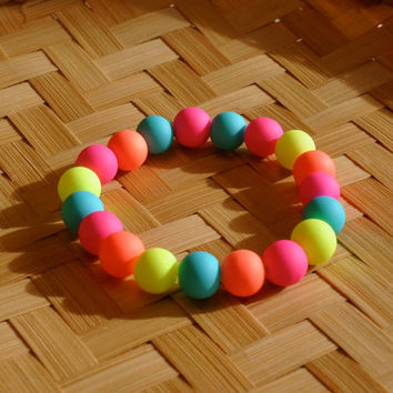 Rubbery Beaded Bracelet, Rave Jewelry, Blacklight Jewelry, Chunky Neon Bracelet