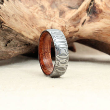 Damascus Steel and Wood Ring - Hawaiian Koa Wooden Ring Damascus Steel Ring