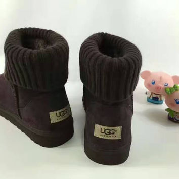 UGG Fashion Plush leather boots boots in tube Boots DARK BROWN