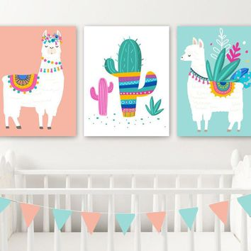 LLAMA Nursery Wall Decor, Llama Girl Bedroom Wall Art, Llama CANVAS or Prints, Llama Cactus Girl Pictures, Llama Girl Artwork Set of 3 Decor