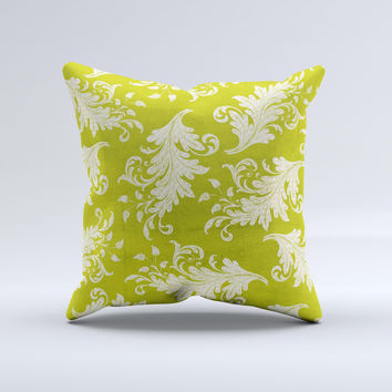 Vintage Green & White Floral Pattern Ink-Fuzed Decorative Throw Pillow