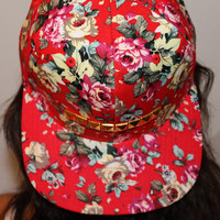 All Over Red Gold Studded Floral Snapback