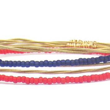 Bangle Bracelets // Set of 5 // Red Navy Blue Gold Seed Beads // Reclaimed Guitar Strings // Recycled, Eco-Friendly Jewelry // Nautical Gift