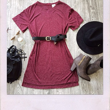 Talk To Me Tee Dress- Burgundy