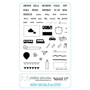 Mark It - Planner Stamps (Photopolymer Clear Stamps) Hydrate Stamp, Dew Drop Stamp, Banner stamp