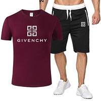 Givenchy 2019 new letter printing pattern solid color wild sports suit two-piece Red