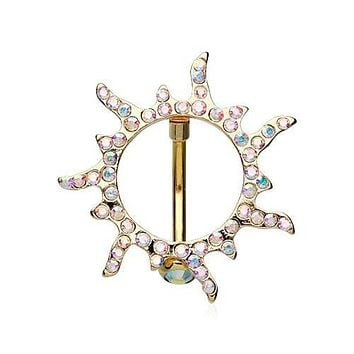 Blazing Sun Reverse 316L Surgical Steel Belly Button Ring