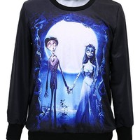 Women's 3D Print Corpse Bride Roll Neck Pullover Sweatshirt