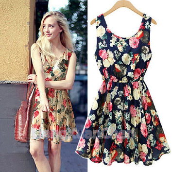Fashion Women New Exquisite Sleeveless Round Neck Florals Print Pleated Dress Saias Femininas Summer Clothing [4905492804]