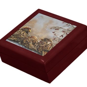 Keepsake/Jewelry Box - Sparrows - Wood Lacquer Box