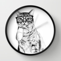 Mac Cat Wall Clock by Florever