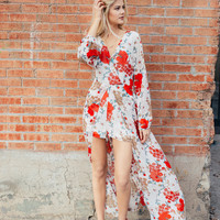 Floral Long Sleeve Maxi Romper