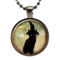 Cute Witch Cat Pendant Necklace, Halloween Jewelry, Goth Kitty