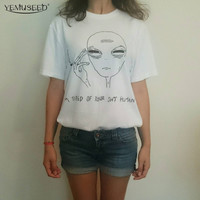 New Women Tshirt 18 Style Smoking Alien Print Funny Casual ET T-shirt For Lady White Plus Size Top Tees Hipster