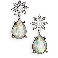DANNIJO - Dolly Crystal & Faux Pearl Teardrop Earrings - Saks Fifth Avenue Mobile