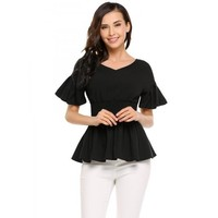 Solid Elastic Waist Short Sleeve Pleated Hem Peplum Tops